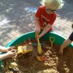 Children love digging in our sand pit