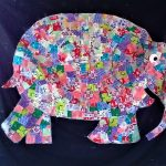 The children, used pieces of fabric to glue onto a sheet to create our Wonderful Elmer Wall Hanging.