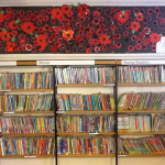 The childrens beautiful Poppy Banner up in the Library